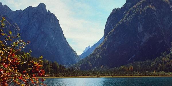 The Sesto Dolomites are the framework for the Lake of Dobbiaco
