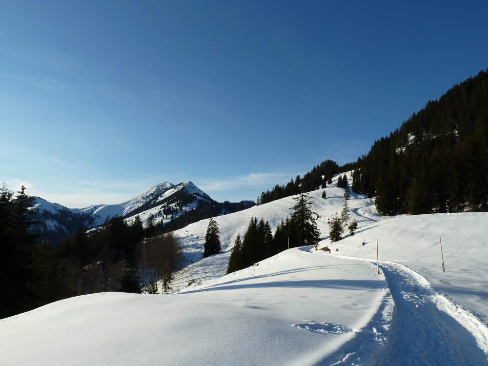 Aufstieg zum Brünnsteinhaus im Winter