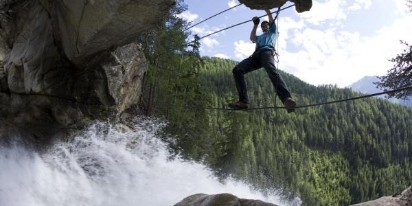 Seilbrücke am Stuibenfall-Klettersteig