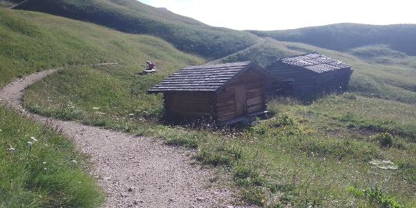 Holzhütte mit Scheune; über den hinteren Grasrücken weglos ansteigen