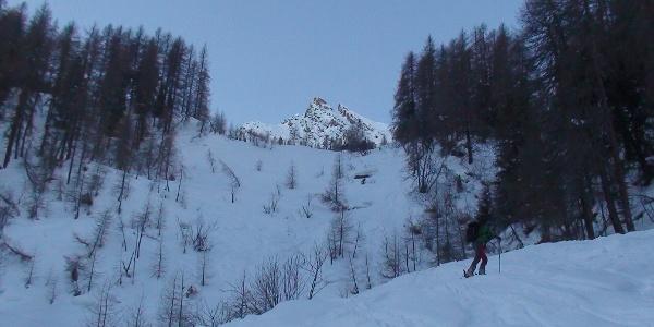 Erster Blick beim nordostseitigen Aufstieg auf den Gipfel der Hohen Warte 2687 m