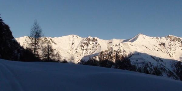Schafseitenspitze 2602 m  Pliderling 2480 m (Felsgipfel) und Scheibenspitze 2489 m (von links nach rechts)