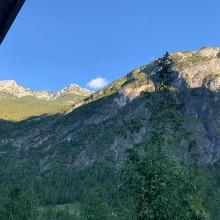 Blick aus dem Fenster im Heulager.