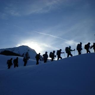 Ein langer Tag geht zu Ende. Im Bildhintergrund die Winterstaude.