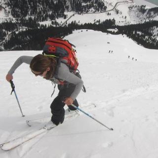 Über den breiten Rücken überwindet man ein kurzes Steilstück und erreicht eine Kuppe vor dem Gipfelhang.