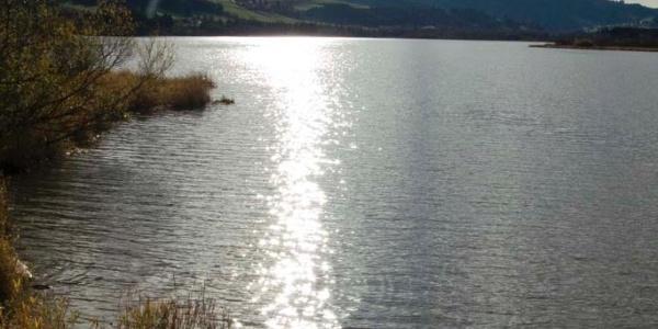 Die tief stehende Novembersonne spiegelt sich im See.