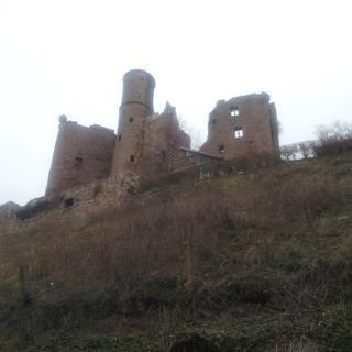 Blick vom Friedhof hoch zur Burgruine