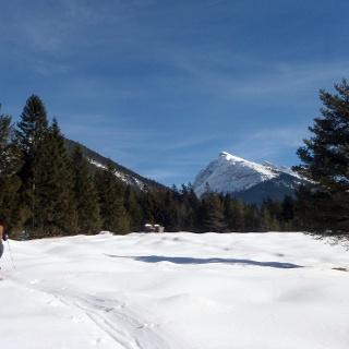 Bald gelangt man auf eine Wiese mit wunderschönem Ausblick auf die Berge rundum.