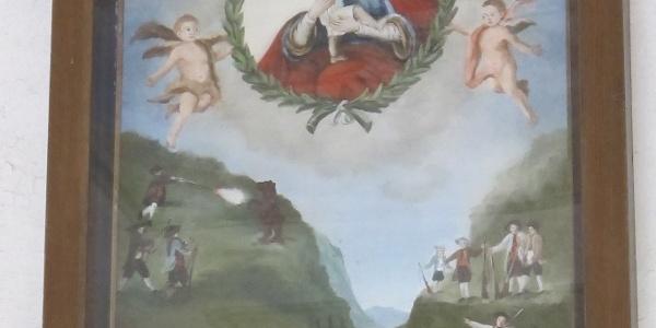 Darstellung der Bärenjagd anno 1783 im Vorraum der Wallfahrtskapelle in Kühbruck