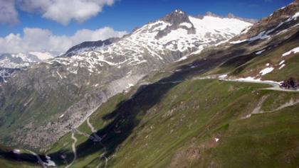 Kurz vor dem Furkapass. Blick Richtung Rhone Gletscher