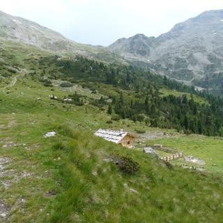 Blick zurück zur Fortschellscharte. Ab der Großalmhütte (2054 m) münden wir in die Forststraße ein.