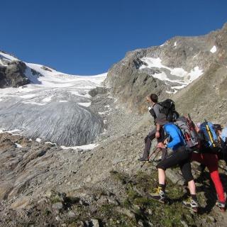 Blick auf den Berglasferner vom Steig zum Berglasübergang.