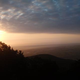 Morgendlicher Blick von der Kalmit ins Rheintal