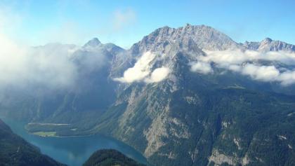 Blick vom Jenner auf den Watzmann und den Königssee zu seinem Fuße