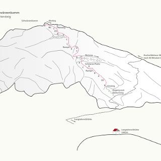 Topo Schwärzenkamm-Klettersteig