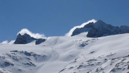 Dachstein von der Hütte im Winter