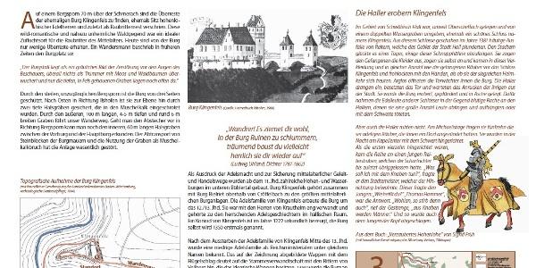 Thementafel Burgruine Klingenfels bei Steinbächle/Ilshofen