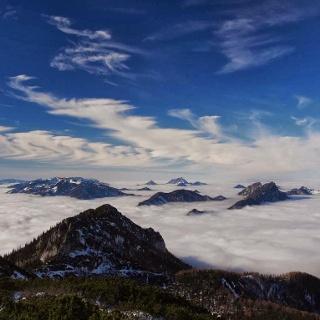 Wolkenmeer in den Niederungen.