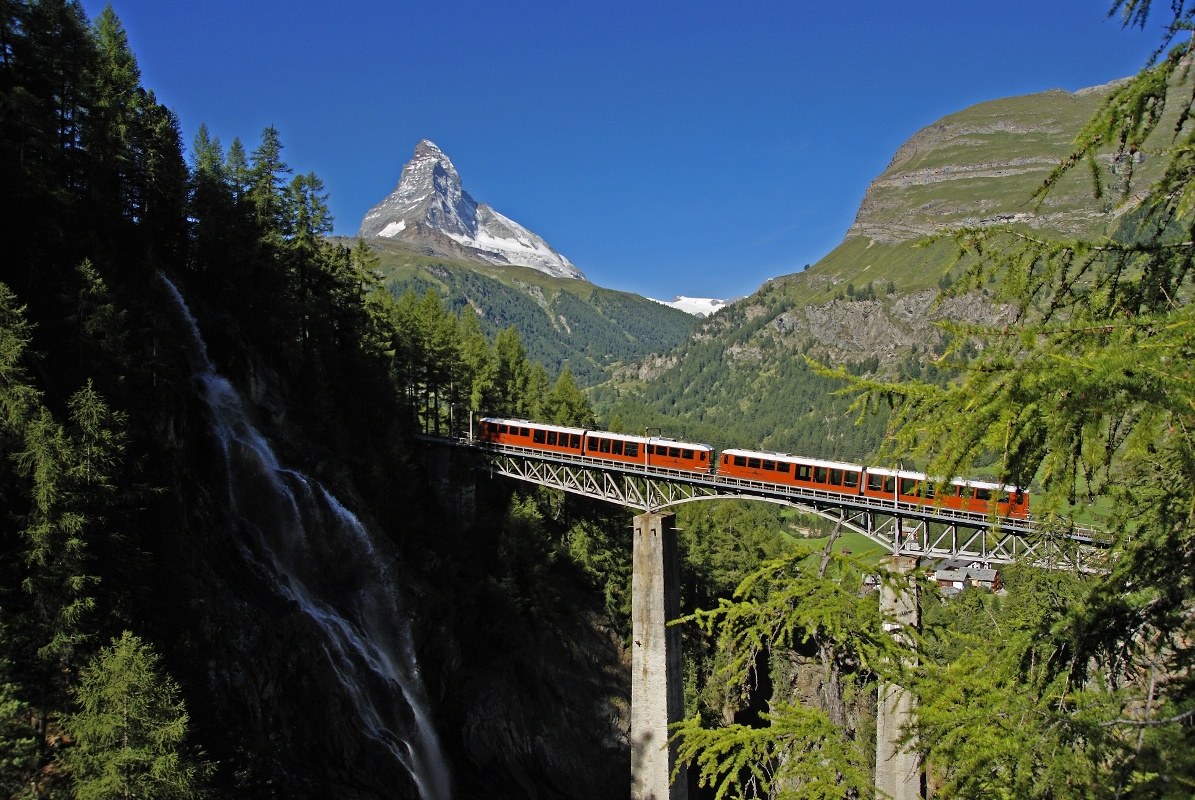 Ride on the Gornergrat Bahn cog railway over the Findelbach bridge
