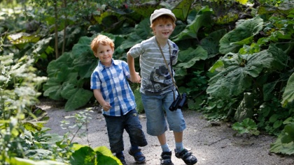Zwei Jungs am Bacherlebnispfad