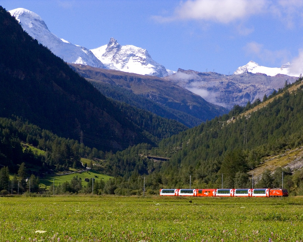 Walking with views of the Matterhorn Gotthard Bahn railway line