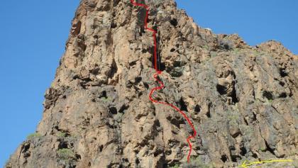 Jesus Beitia (rot Klettersteig - gelb Abstieg)