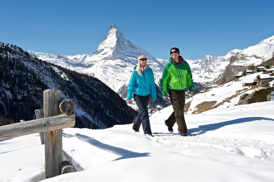 Zermatt - Sunnegga winter hiking trail with view of the Matterhorn (4,478 m)