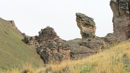 Felsnadeln kurz vor Alero, auf der rechten Talseite welches zur Piedra Clavada führt.