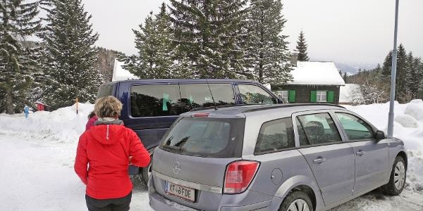 Ausgangspunkt der Tour. Parkplatz Schmelz