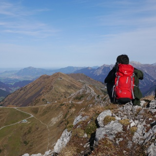 Rast am Gipfel der Walser Hammerspitze