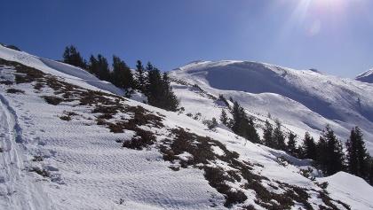 Dem abgeblasenen Rücken entlang zum Gipfel