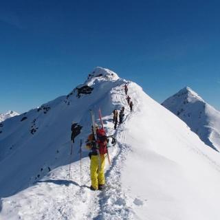 Übergang zum Gipfel, Wetterspitze im Hintergrund
