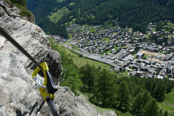 Mammut via ferrata above Zermatt's rooftops