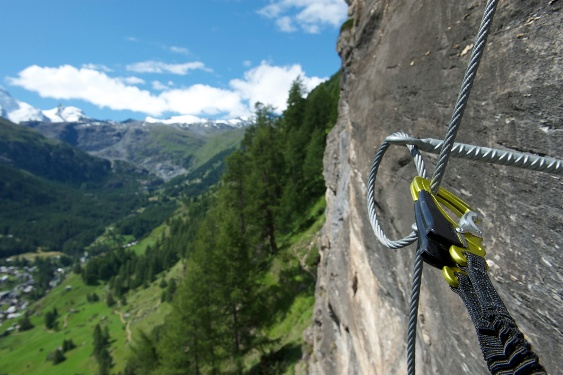 The via ferrata Schweifinen above Zermatt's rooftops