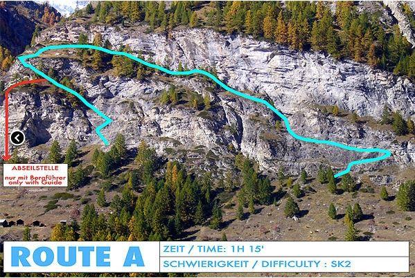 Klettersteig Map : Klettersteig schweifinen route a zermatt schweiz
