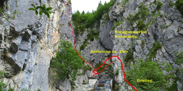 Einstieg Rongg Wasserfall