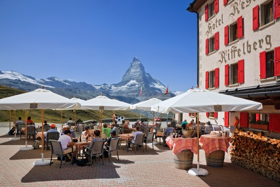 Sun terrace of the Hotel Riffelberg with view of the Matterhorn