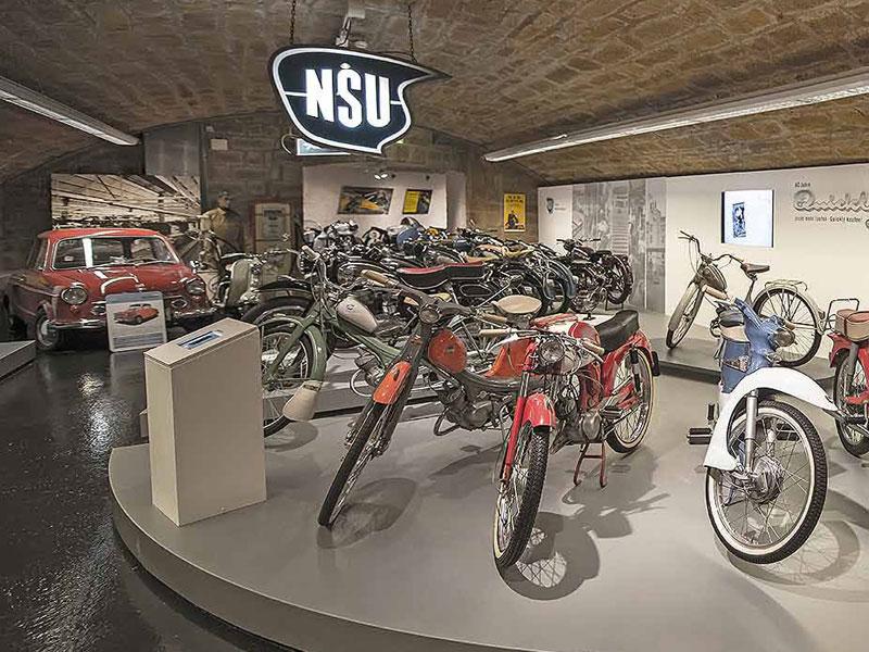 Oldtimer-Typen und Marken, die viele junge Motorradfahrer heute nicht mehr kennen. Im Deutschen Zweirad und NSU-Museum Neckarsulm werden sie bewahrt.  - @ Autor: Beate Philipp  - © Quelle: NSU-Museum