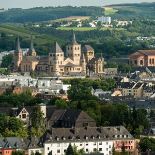 View from the cliff path over to Trier old town with its cathedral and basilica