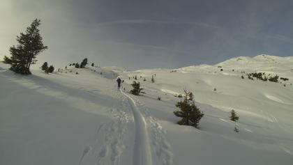 Ungefähr in Bildmitte befindet sich der Gipfel, rechts davon geht es über den Kamm zum Baumgartgeier.