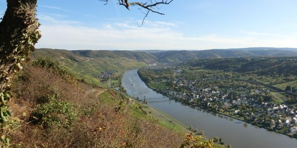 Zeltingen Hill viewpoint: Wehlen with its suspension bridge, Graach and Bernkastel-Kues in the background