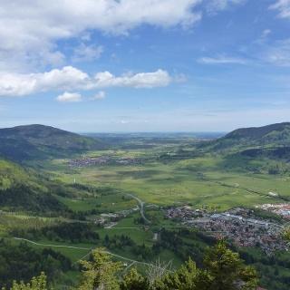 Bergtour Kolbensattelhütte über Kofel - Blick auf das Ammertal