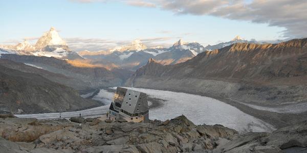Monte Rosa hut (2,883 m), run by the Swiss Alpine Club (SAC)