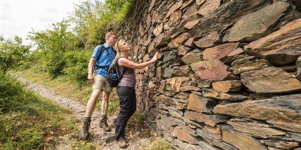 Schiefer-Trockenmauer am Buchsbaumpfad