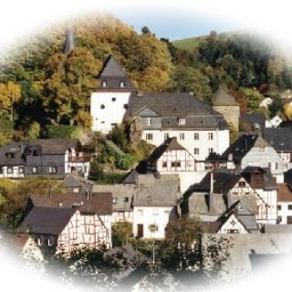 Gesamtansicht von Herrstein mit Burganlage