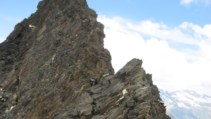 Kletterei am Verbindungsgrat zum Hohe Wilde Nordgipfel