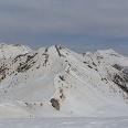 Cima Palú vom Monte Slimber aufgenommen, im Vordergrund das Aufstiegsgelände.