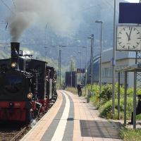 Bahnhof Lambrecht, Ankunft des Kuckucksbähnel